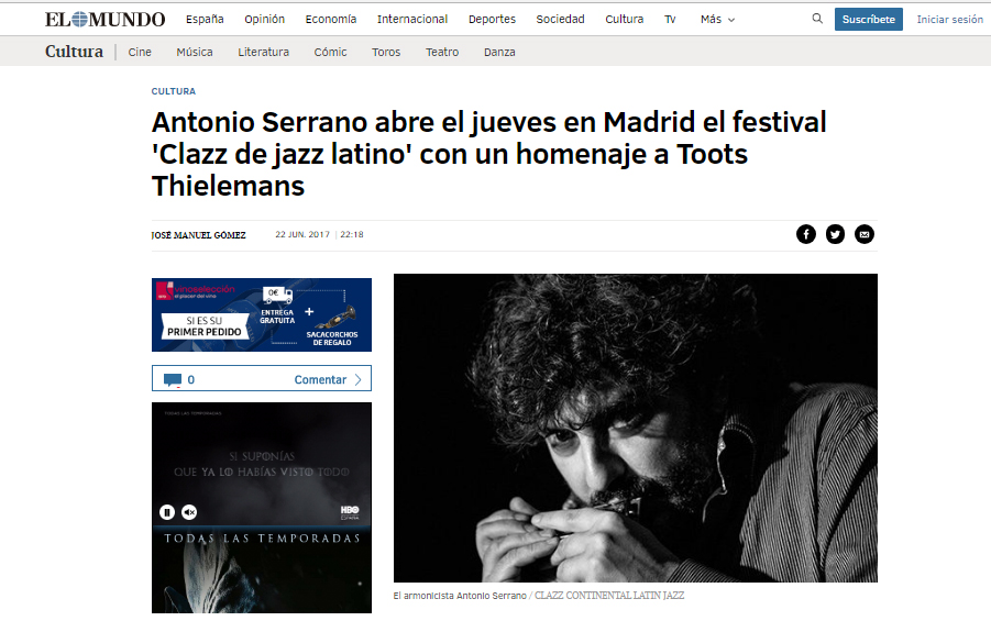 ANTONIO SERRANO CLAZZ DE JAZZ LATINO MADRID
